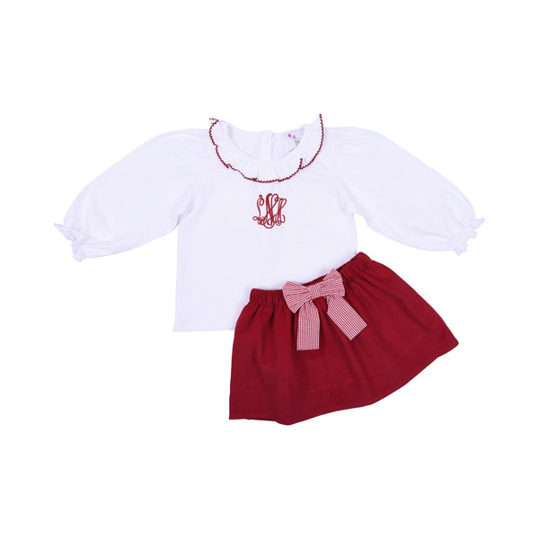 Red Corduroy Bow Skirt Set