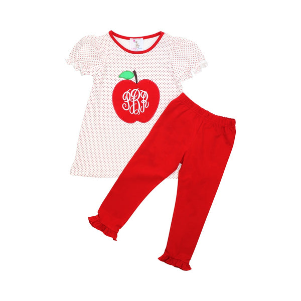 Red Dot Knit Apple Legging Set