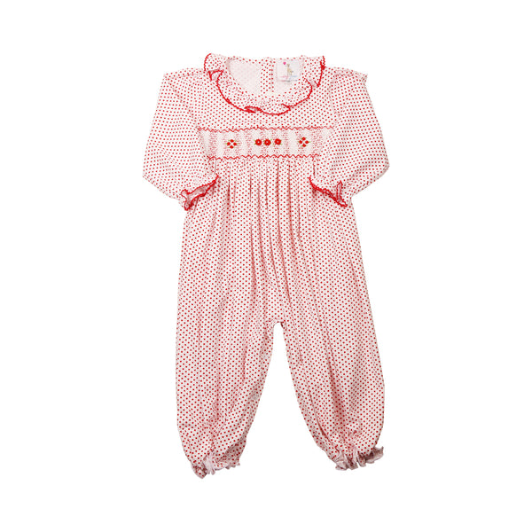 Red Dot Knit Smocked Long Bubble