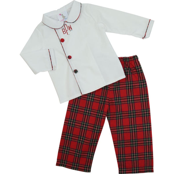 Red Flannel Side Button Pant Set