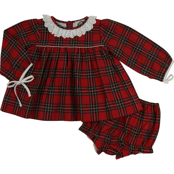 Red Flannel Tie Bow Diaper Set