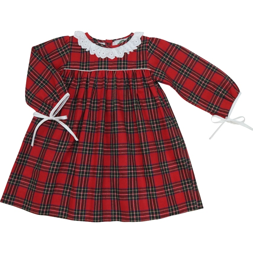 Red Flannel Tie Bow Dress