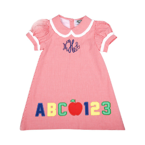 Red Gingham Applique ABC-123 Dress