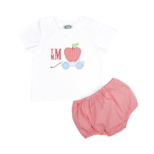 Red Gingham Applique Apple Wagon Diaper Set