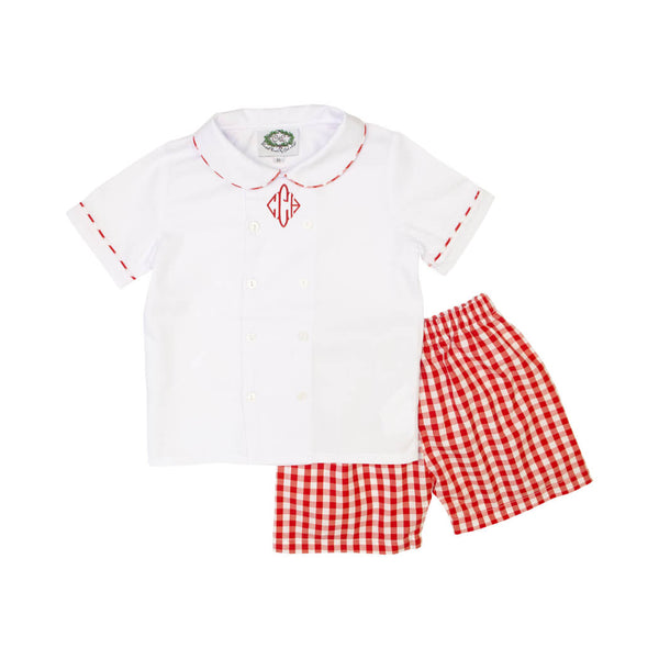Red Gingham Boys Short Set