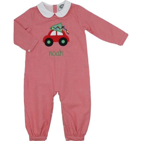 Red Gingham Car and Christmas Tree Long Romper