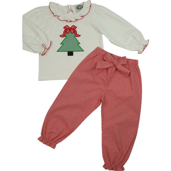 Red Gingham Christmas Tree Bow Girl Pant Set