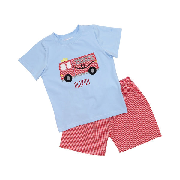Red Gingham Firetruck Short Set