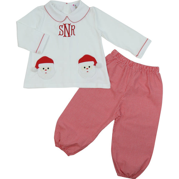 Red Gingham Santa Boys Pant Set