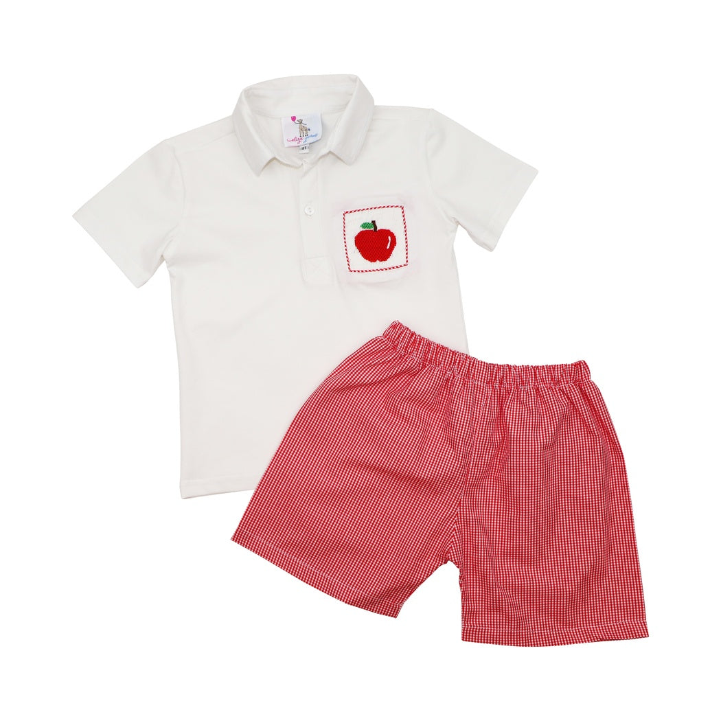 Red Gingham Smocked Apple Polo Short Set