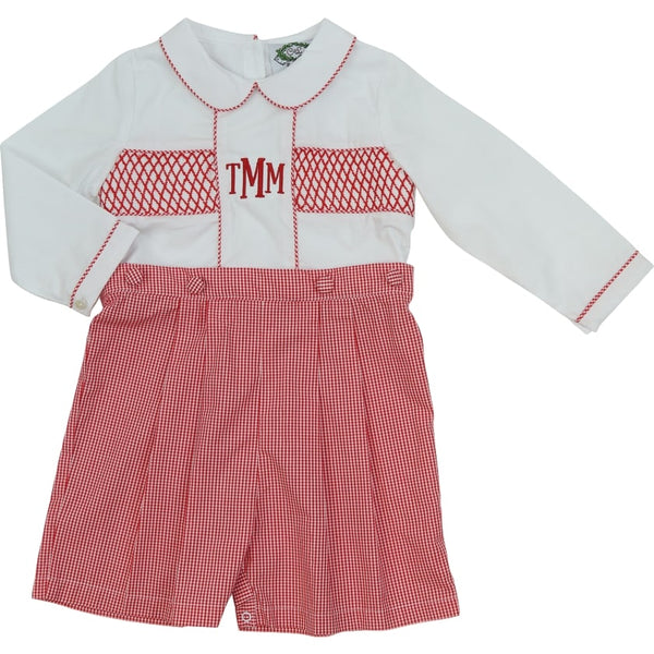 Red Gingham Smocked Button-On Suit