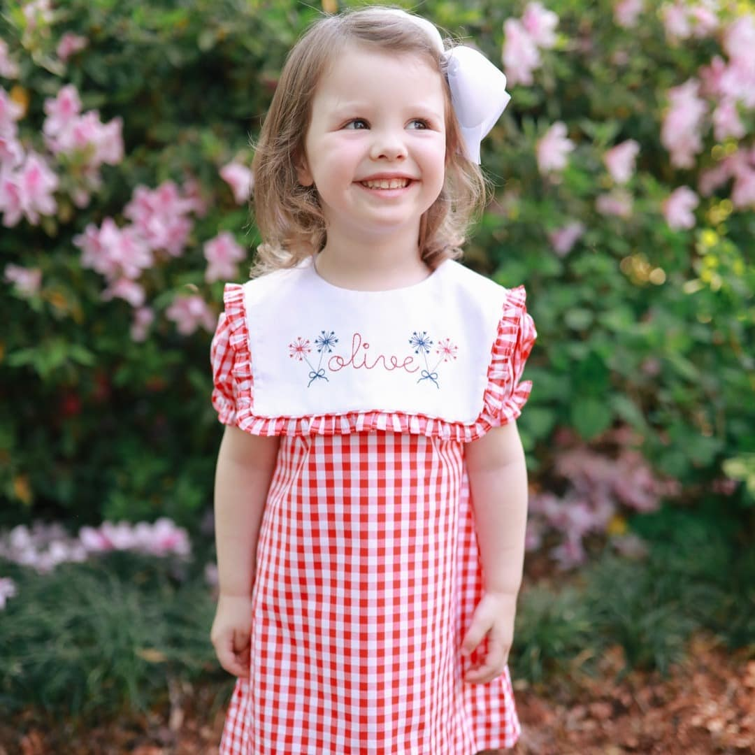 Red Gingham Square Collar Dress