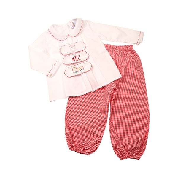 Red Gingham Tab Pant Set - 3 Tabs Included