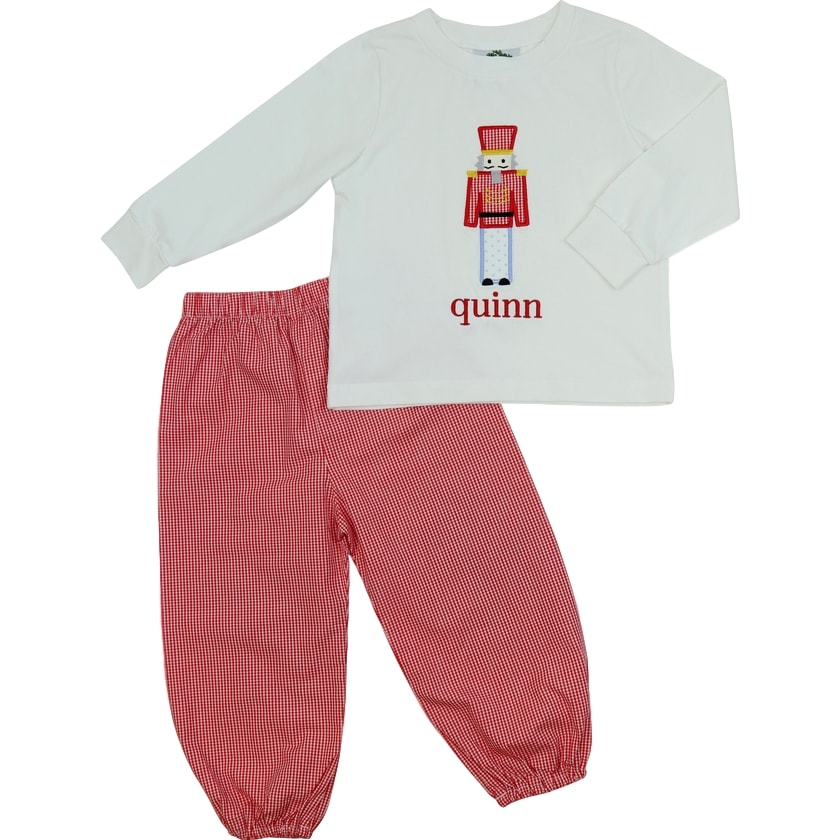 Red Gingham Toy Soldier Pant Set