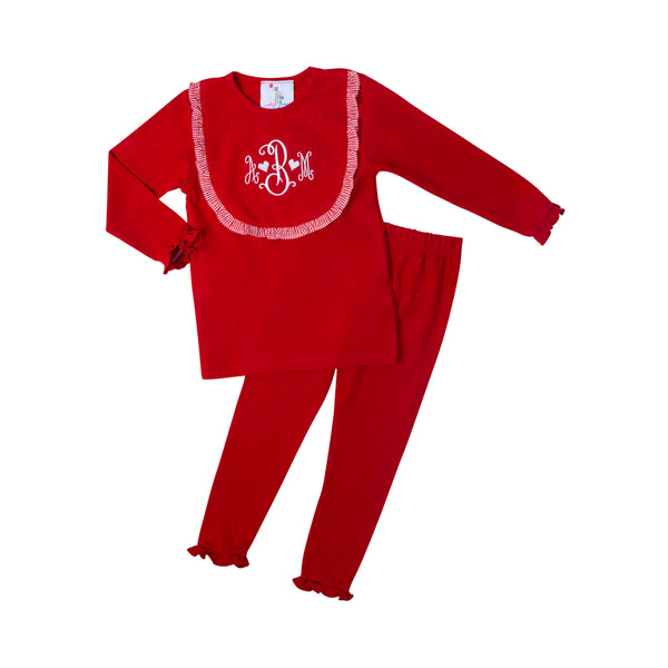 Red Knit Bib PJ Set