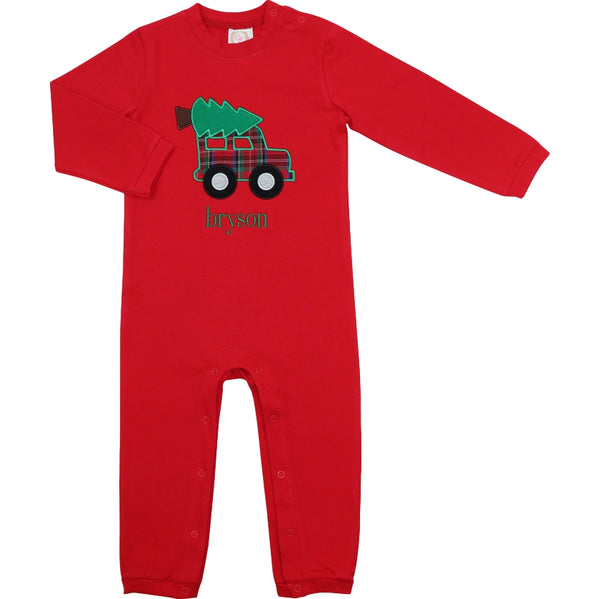 Red Knit Car and Christmas Tree Long Romper