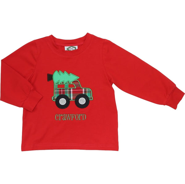 Red Knit Car and Christmas Tree Shirt