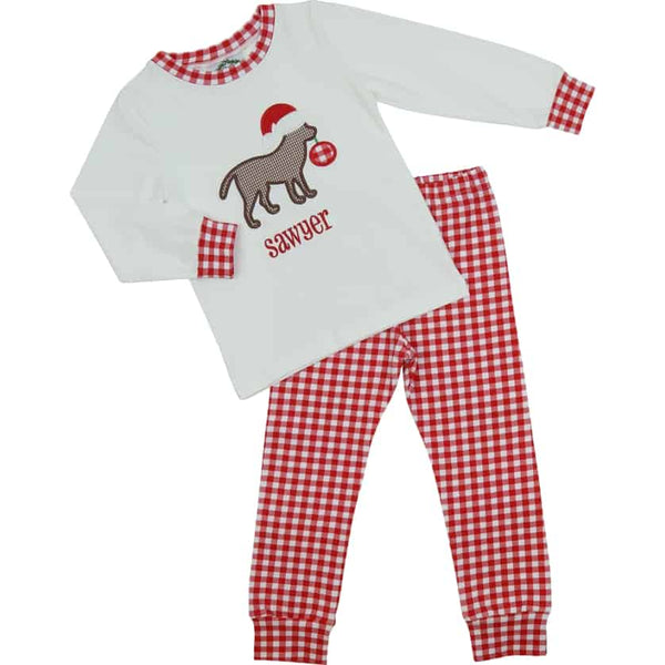 Red Knit Check Christmas Lab PJ Set