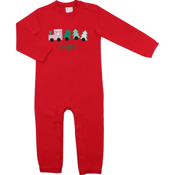 Red Knit Christmas Train Long Romper