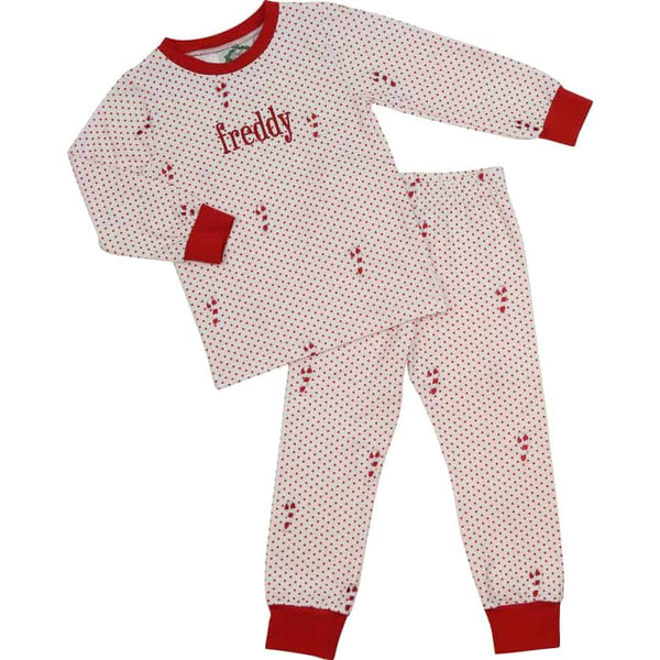 Red Knit Dot Candy Cane PJ Set