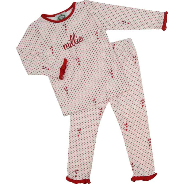 Red Knit Dot Candy Cane Ruffle PJ Set