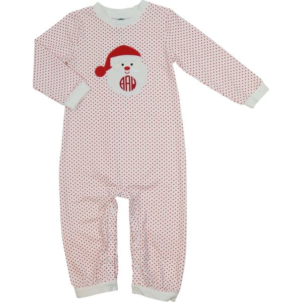 Red Knit Dot Santa Long Romper