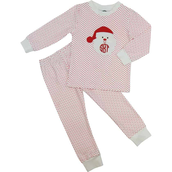 Red Knit Dot Santa PJ Set