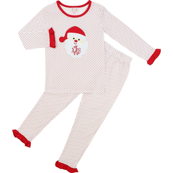 Red Knit Dot Santa Ruffle PJ Set