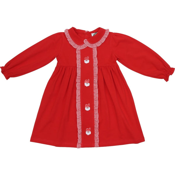 Red Knit Embroidered Santa Dress
