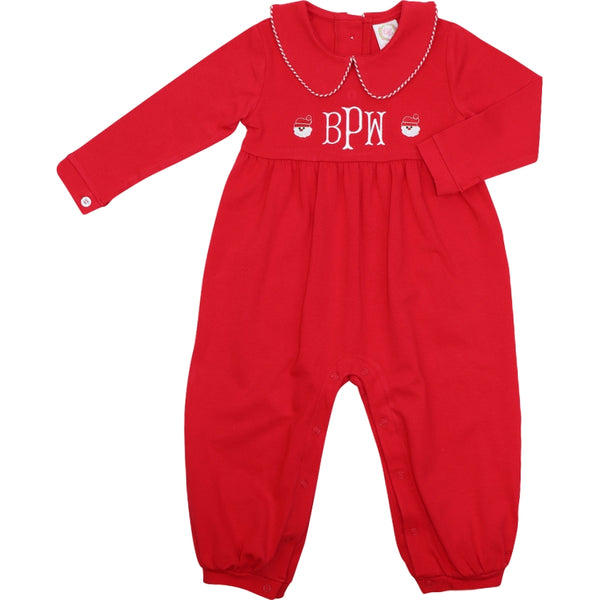 Red Knit Embroidered Santa Long Romper