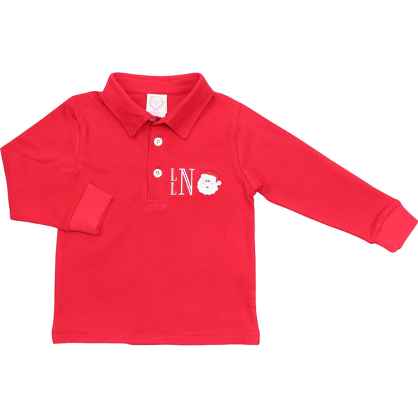 Red Knit Embroidered Santa Polo Shirt