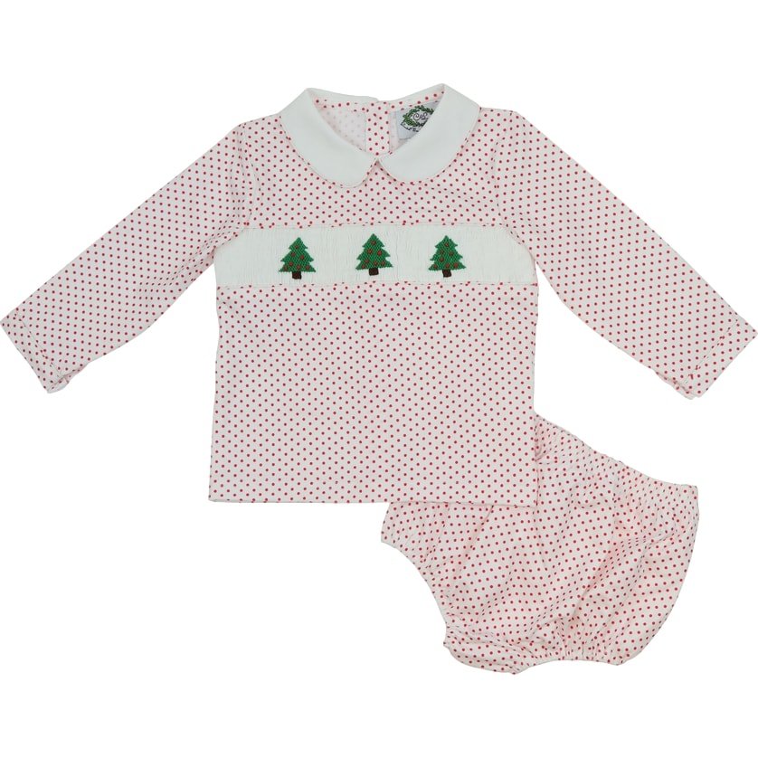 Red Knit Smocked Christmas Tree Diaper Set