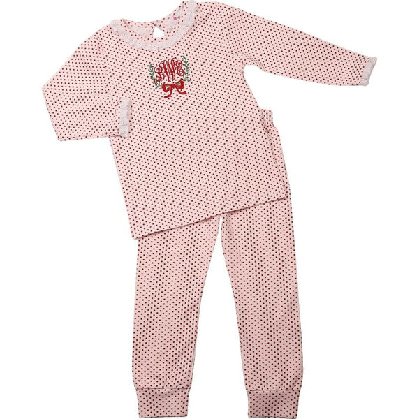 Red Mini Dot Knit Eyelet Pajamas