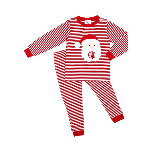 Red Mini Stripe Boys Santa Pajamas