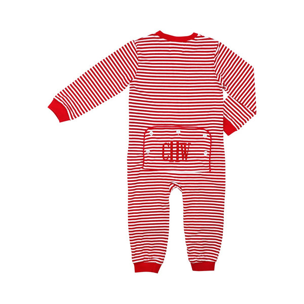 Red Mini Stripe Boys Zipper Pajamas
