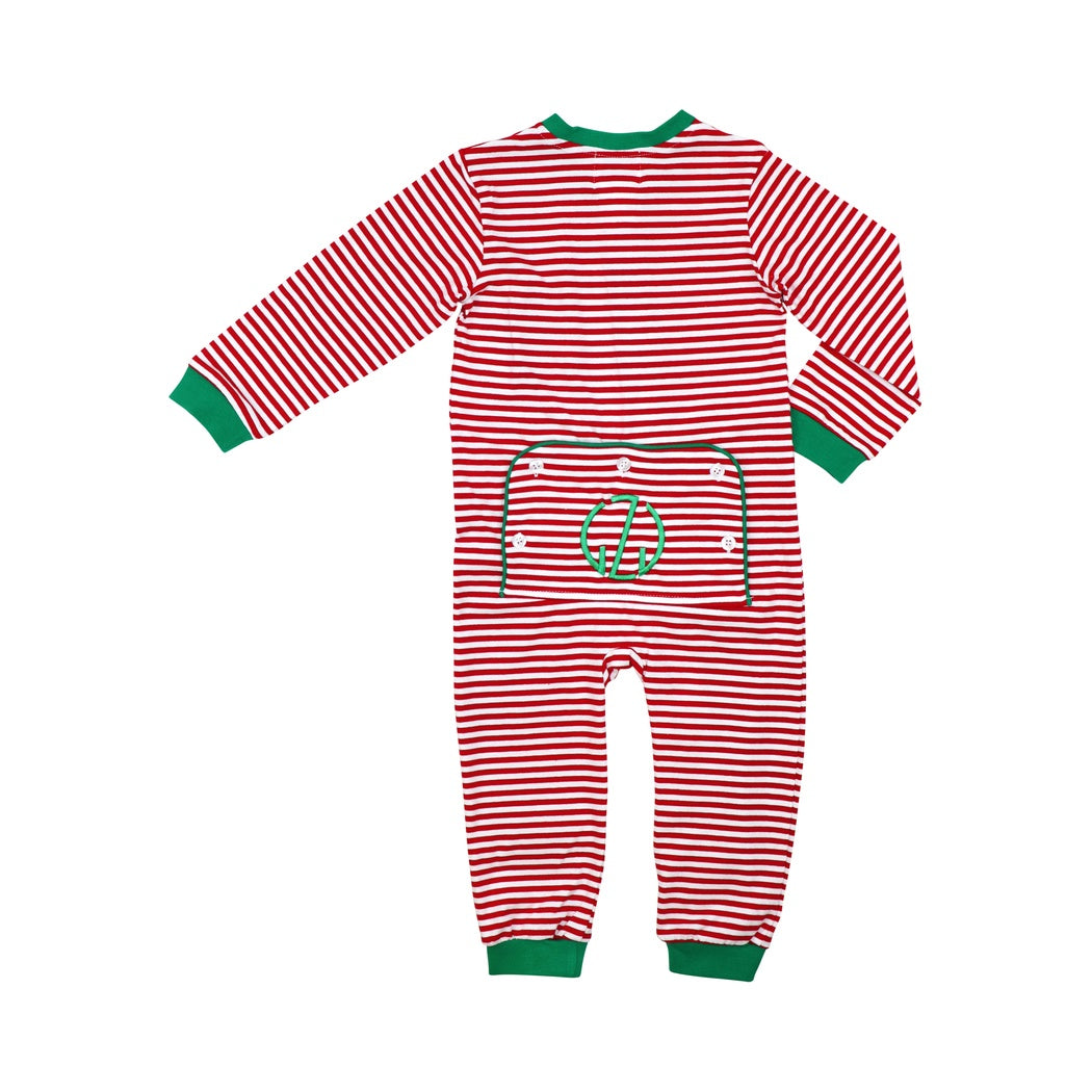 Red Mini Stripe Boys Zipper Pajamas with Green Trim