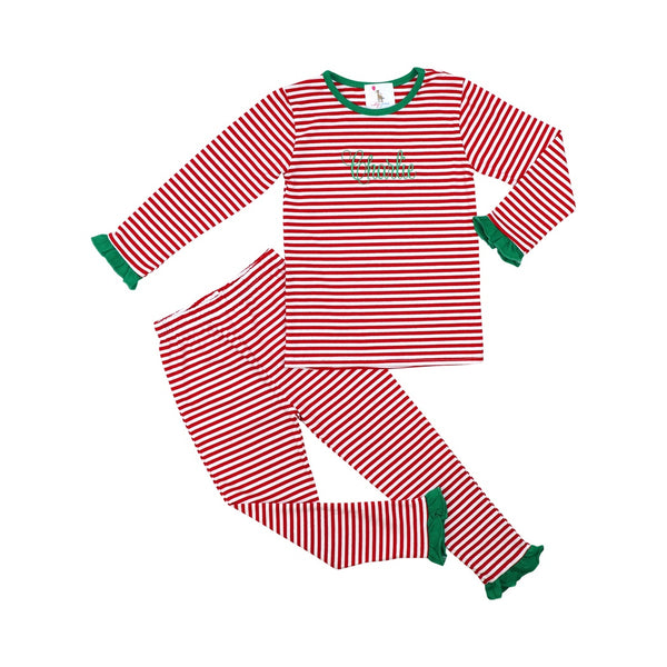 Red Mini Stripe Girls Pajamas