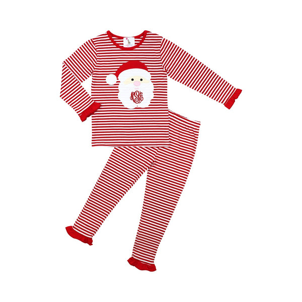 Red Mini Stripe Girls Santa Pajamas