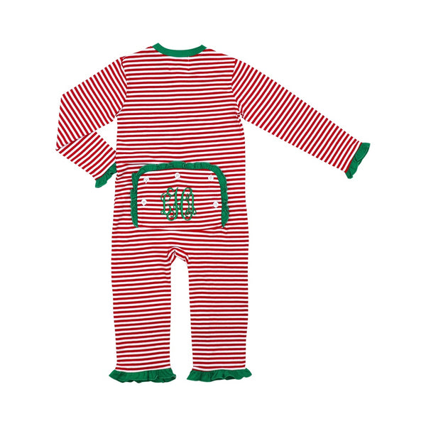 Red Mini Stripe Girls Zipper Pajamas with Green Trim