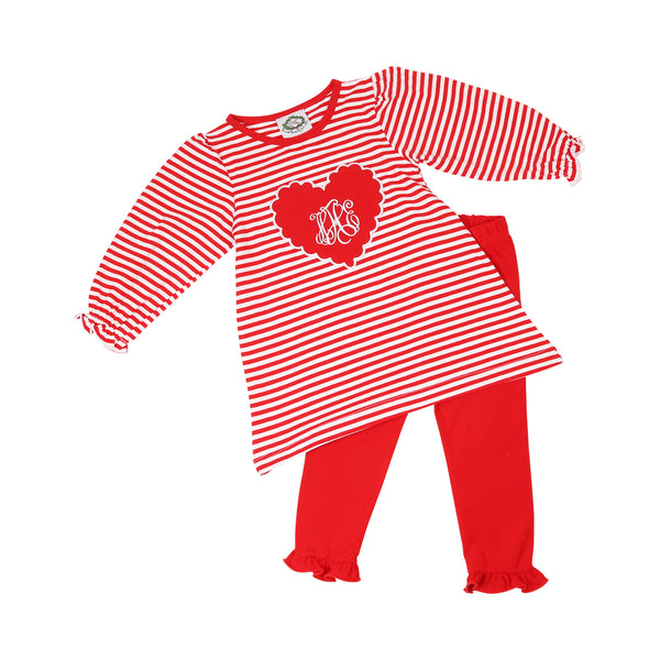 Red Mini Stripe Heart Legging Set