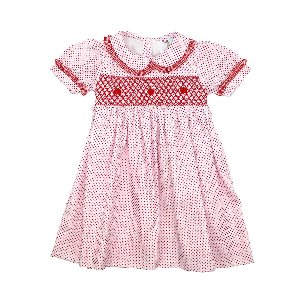 Red Pique Dot Smocked Apple Dress