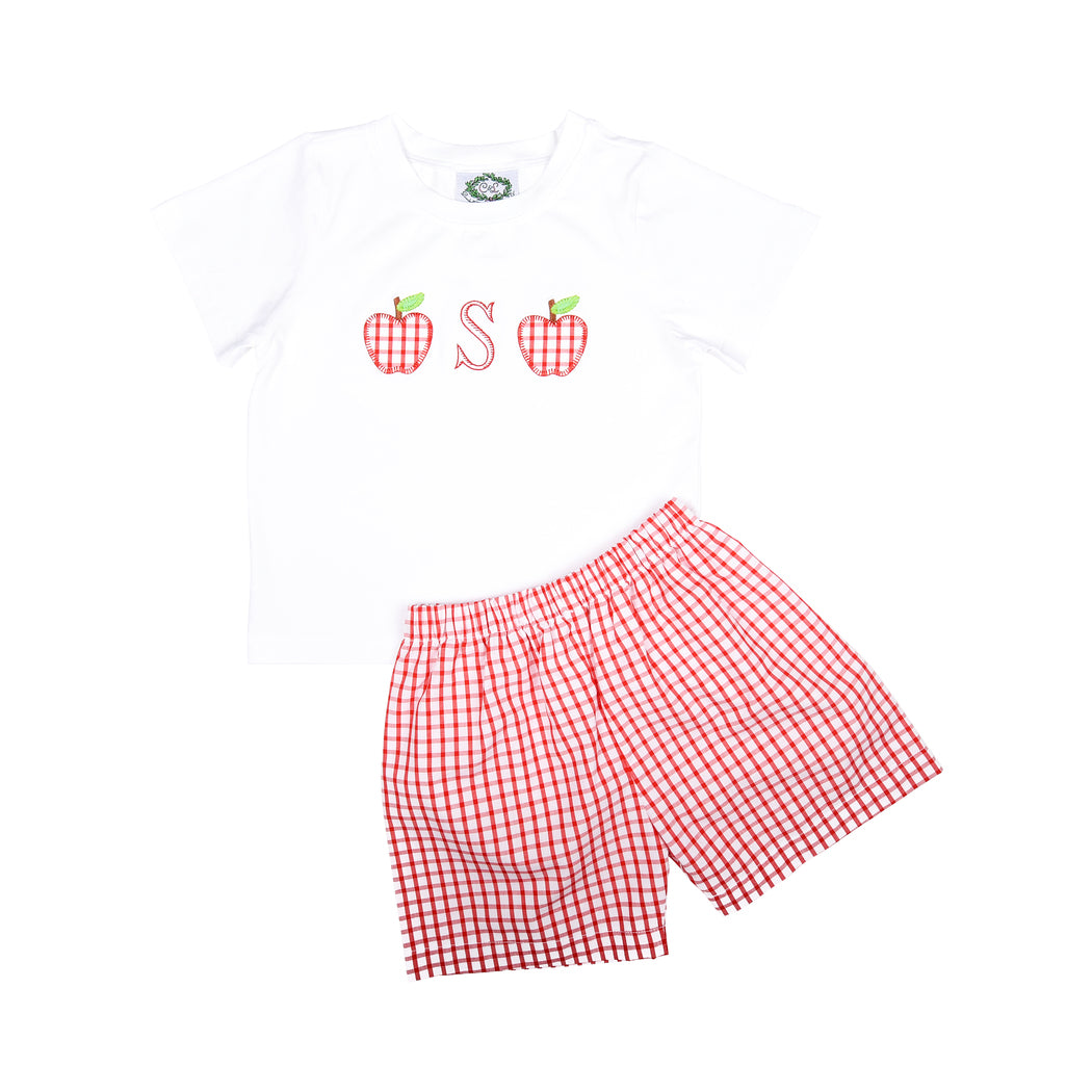 Red Windowpane Applique Apple Short Set