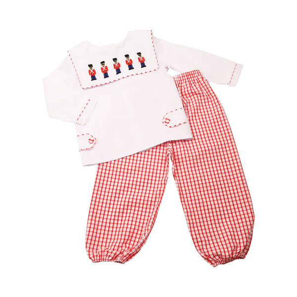 Red Windowpane Embroidered Toy Soldier Pant Set