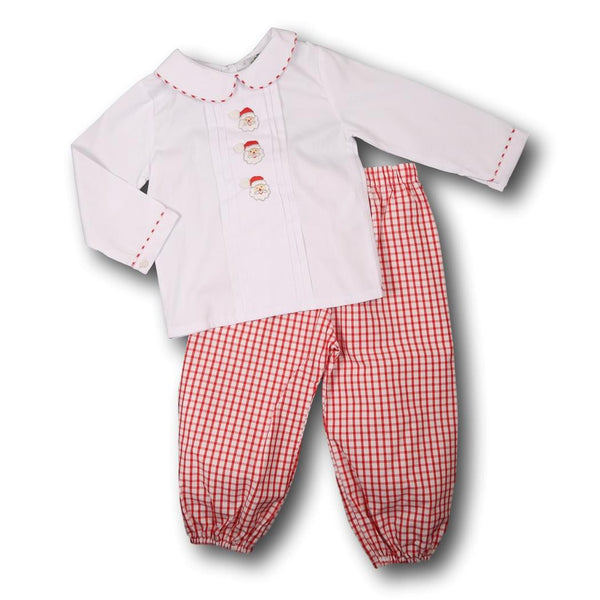 Red Windowpane Santa Pant Set