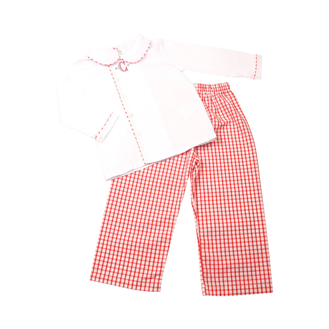 Red Windowpane Side Button Pant Set