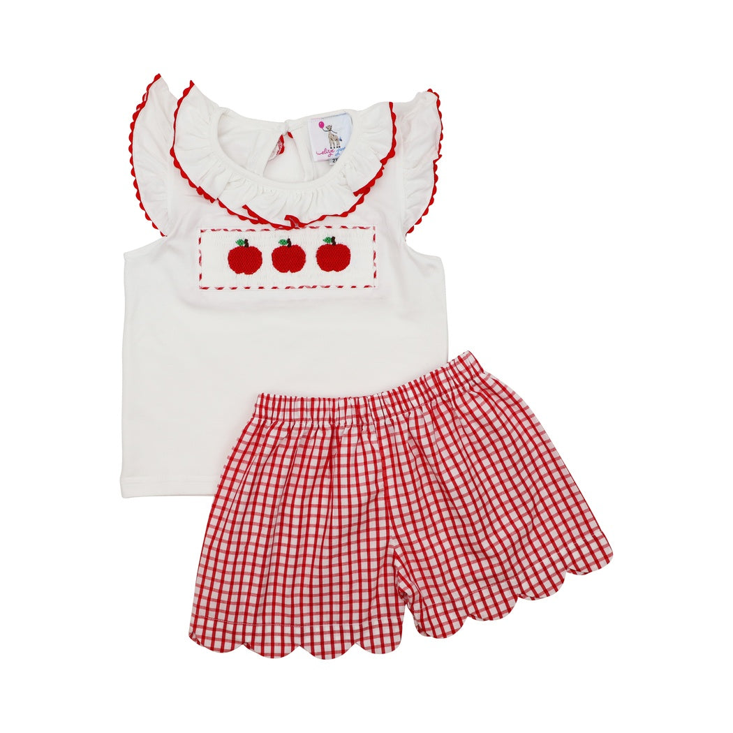 Red Windowpane Smocked Apple Ruffle Short Set