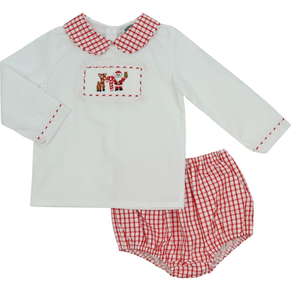 Red Windowpane Smocked Holiday Diaper Set