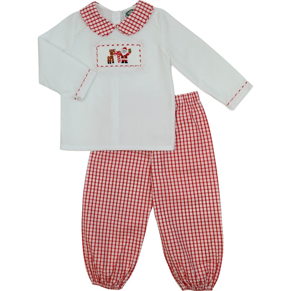 Red Windowpane Smocked Holiday Pant Set