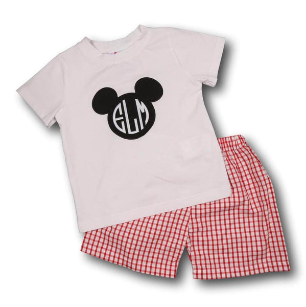 Red Windowpane Smocked Mouse Ears Short Set