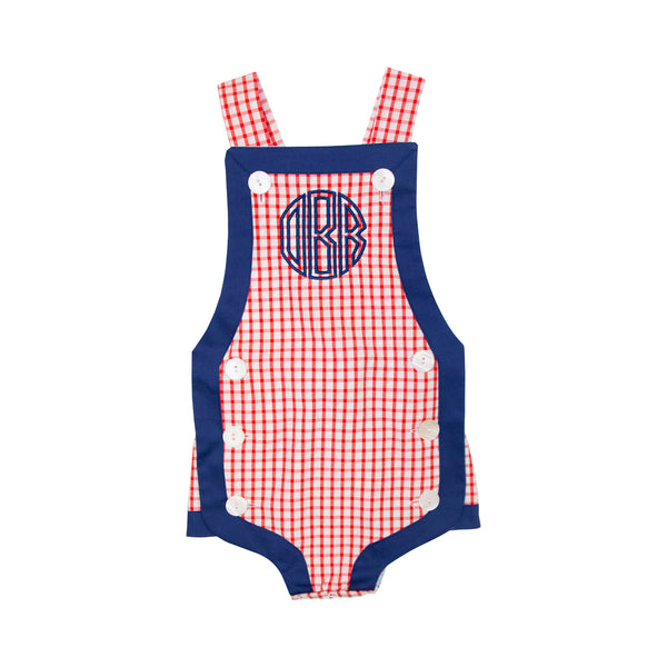 Red Windowpane with Navy Trim Boys Bubble